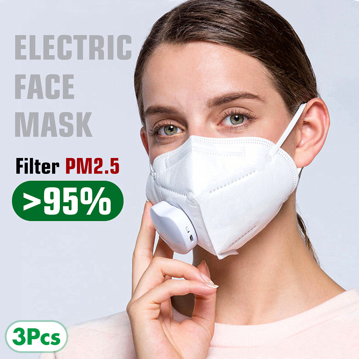 3pcs PM2.5 Face Mask Air Purifying KN95 Anti Haze Dustproof Mask Carbon Filter Windproof Mouth-muffle Electric Face Mask Cover