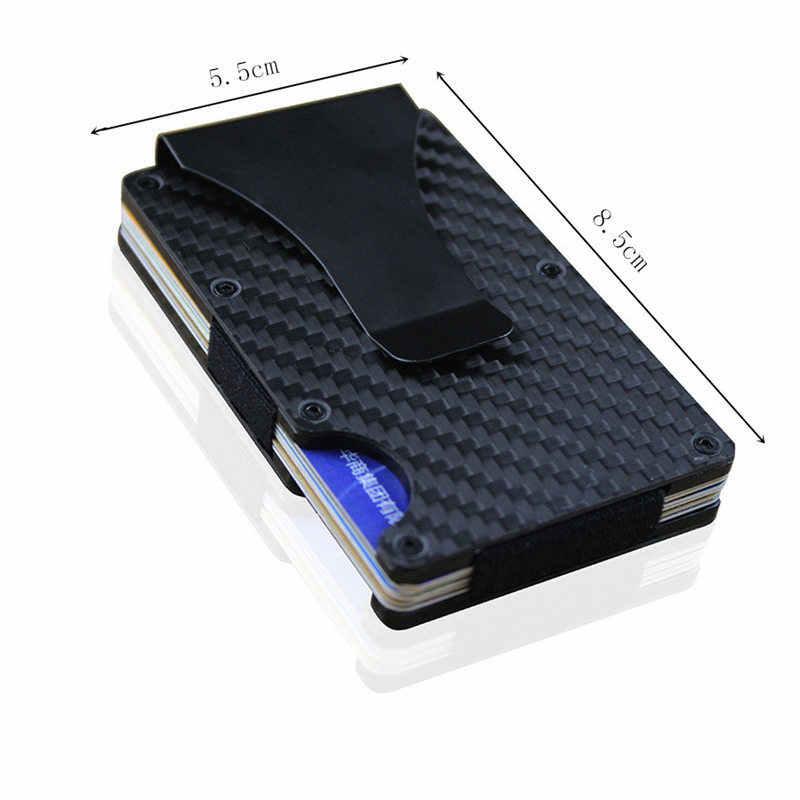 Nicht-scan Metall Brieftasche Neue Mode Dünne Kohlenstoff Faser Kreditkarte Halter RFID Geldbörse Männlichen Carteira Masculina Billetera