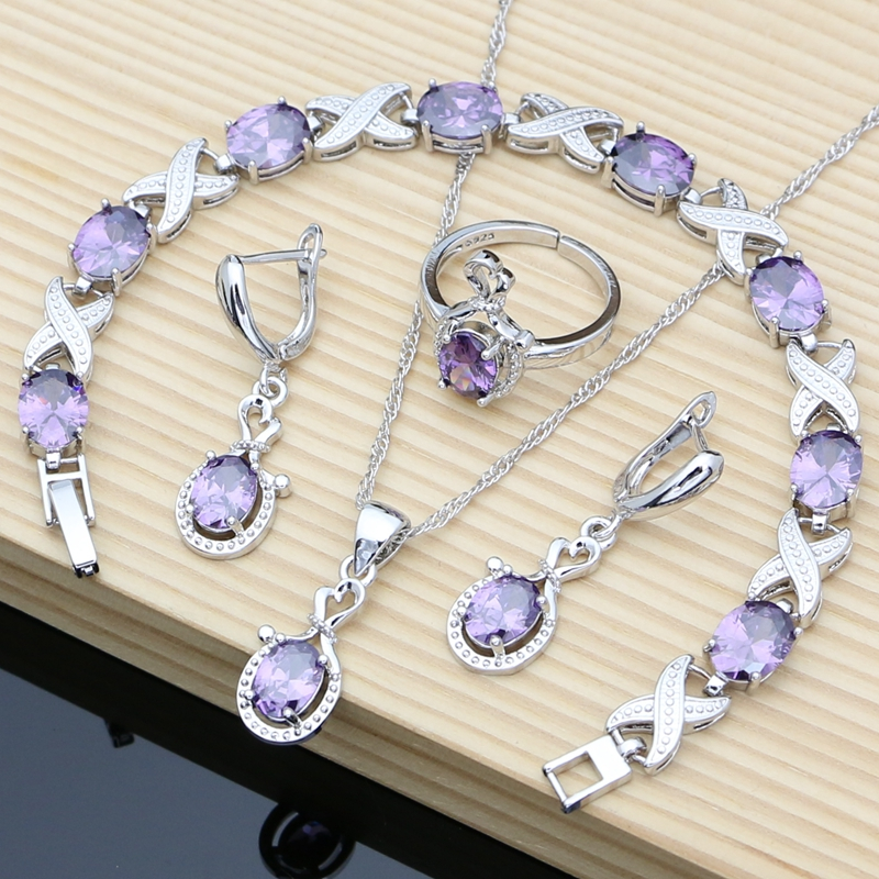 Purple Amethyst Birthstone Silver 925 Jewelry Sets for Women Fashion Long Earrings Bracelet Open Ring Necklace Sets Gift for Her