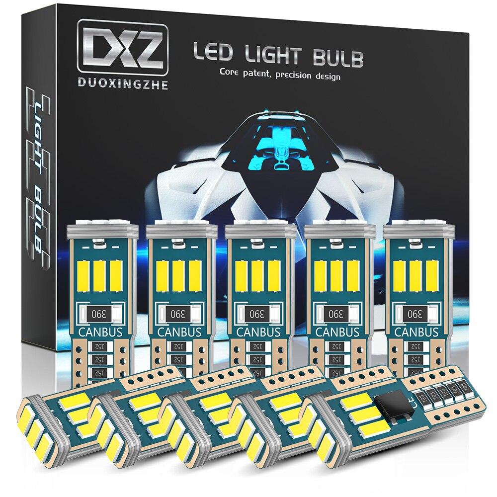 DXZ 10PCS W5W T10 Lâmpadas LED Canbus 9-SMD 12V 6000K Branco 194 168 Carro Interior Mapa Dome luzes de Estacionamento Sinal de Luz Auto Lâmpada