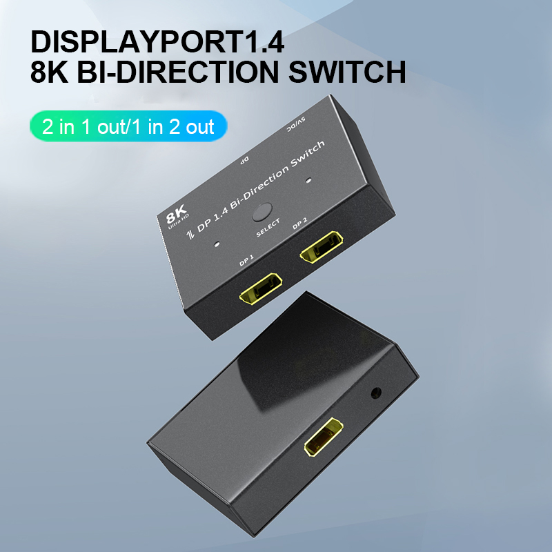 DP 1,4 двунаправленный переключатель сплиттер Displayport в двух 1x2 / 2x1 для двухсторонний переключатель между компьютером и монитор DP kvm