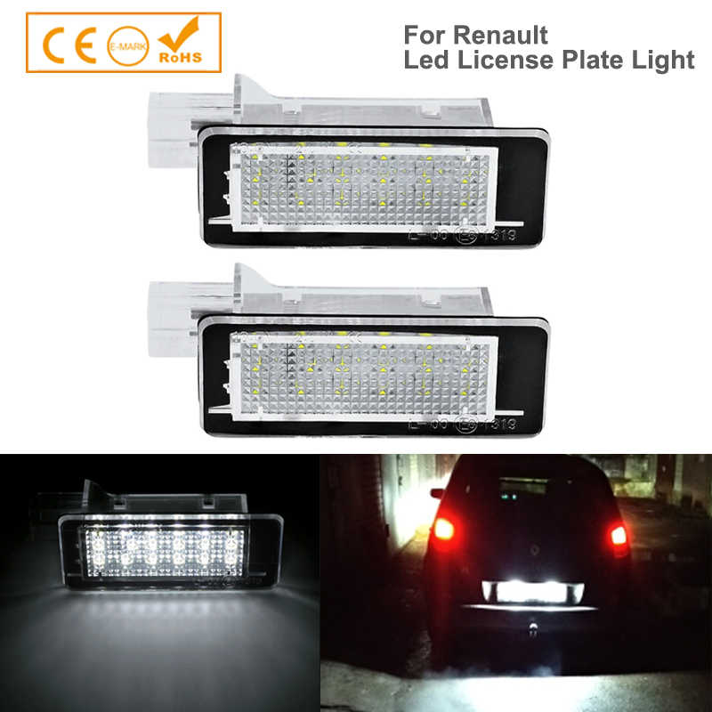 2x LED رقم الترخيص لوحة ضوء مصباح لرينو كابتور كليو الثالث إسبيس IV فلونس لاغونا الثالث ميجان الثالث غراندتور تويغو الثاني