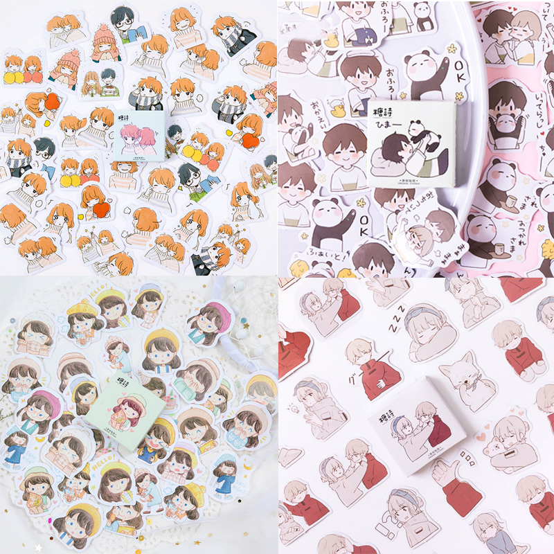 45 Pcs/Box Cute Boys Girls Love Sticker Lovely Stationery Sticker Kawaii Japanese Sticker For Diary Scrapbooking DIY Decoration