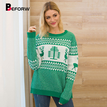 BEFORW 2019 Christmas knitted Women Sweater Pullover Fall Winter Round Neck Long Sleeve Reindeer Pattern Womens Sweaters Jumper цена 2017