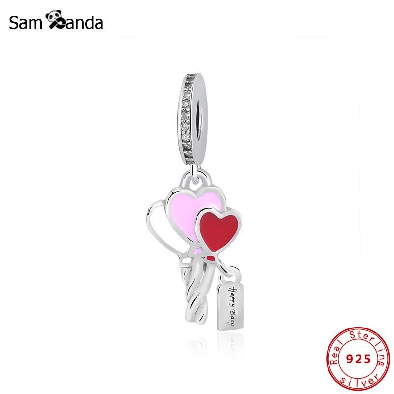 925 Sterling Silver Original Charms Fit Pandora Bracelet Heart Balloons Pendant Charm Birthday Gift Women Diy Jewelry