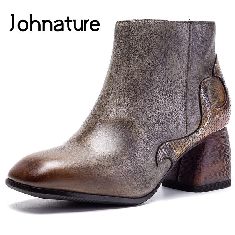 Johnature/ботинки на высоком каблуке; Женская обувь из натуральной кожи; Новинка 2020 года; Ботильоны на молнии смешанных цветов с квадратным носком; Сезон осень зима|Полусапожки|   | АлиЭкспресс