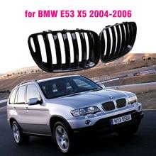 Frente gloss preto rim esporte grades capa grill para bmw e53 x5 2004 2005 2006 estilo do carro