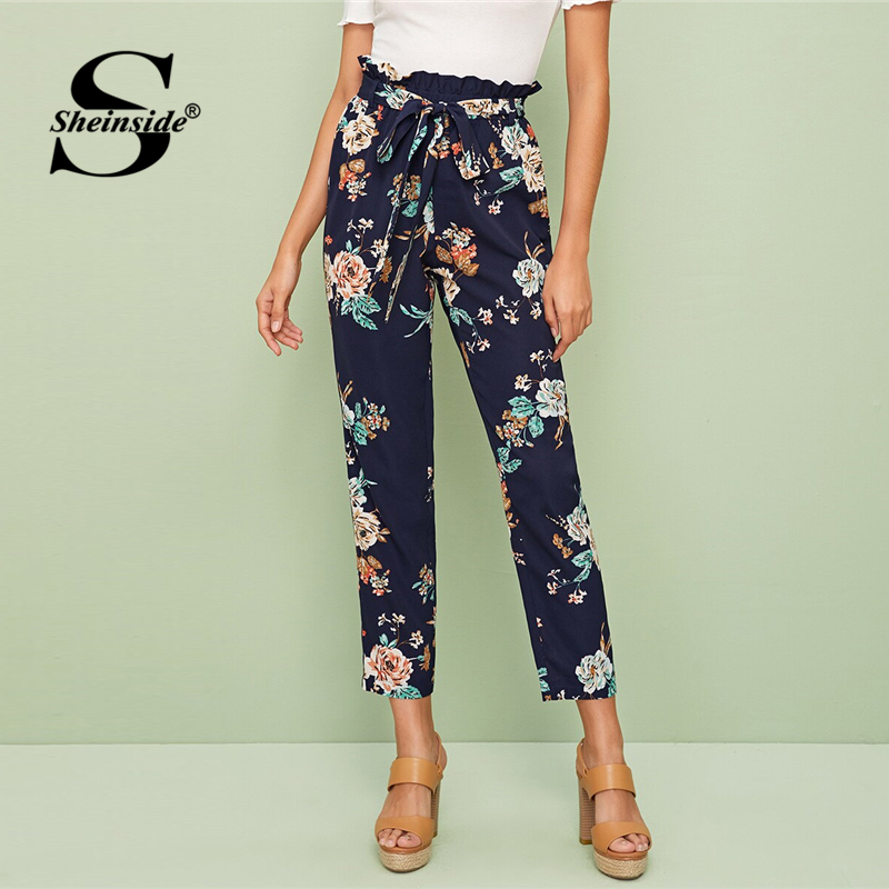 Sheinside Navy Floral Print High Waist Pants Women 2019 Autumn Belted Crop Trousers Ladies Casual Paperbag Waist Pants