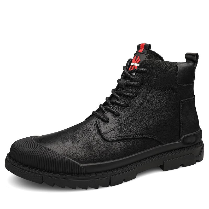 Новые брендовые весенние мужские рабочие ботинки в стиле ретро; кожаные ботильоны в западном стиле; высококачественные слипоны; уличные Бо... - 2