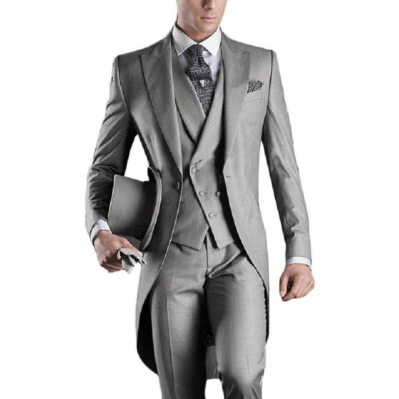 Light Grey Long Tailcoat Groom's Wedding Tuxedos Peaked Men Party Suit Swallowtail Groomsman Tailor Made (Jacket+Vest+Pants)
