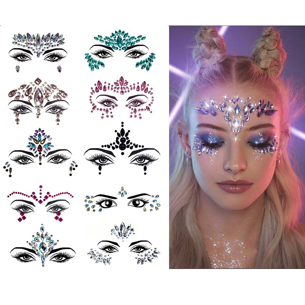 Music Festival Tattoo Flash Party Makeup Stickers Tatto Women  Dance Masquerade Face Stick Drill Tattoo Body Stick