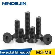 Vis à tête plate fraisée en acier au carbone, 20/55 pièces, M2 M2.5 M3 M4 M5 M6 M8 boulons Machine