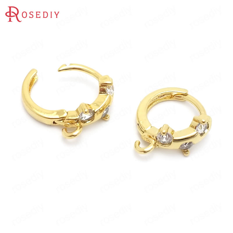 (37853)6PCS 12MM 24K Gold Color Brass And Zircon Round Circle Loop Earrings Hooks Jewelry Making Supplies Diy Accessories