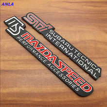 1pcs Aluminum alloy 3D MS  SPEED STI car logo emblem sticker decal Badge styling for Mazda CX5 6 3 MX Atenza Axela
