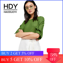 HDY Haoduoyi Apparel Solid Color Sweet Women Shirts O-neck Half Sleeve Lace-up Bowknot Knitted Lady Tops OL Casual Female Blouse