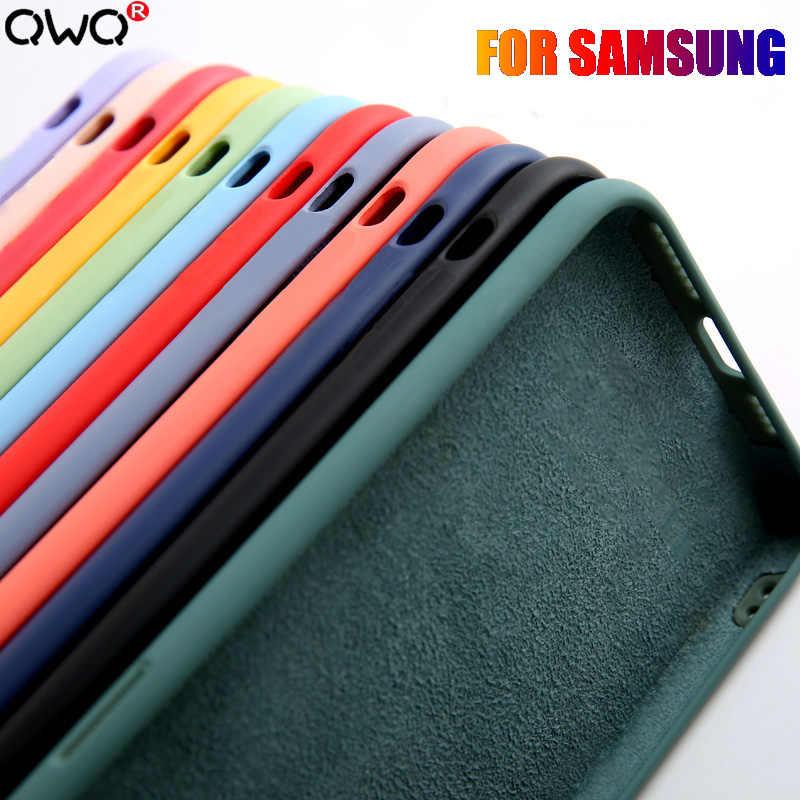 Líquido de silicona caso para Samsung Galaxy A50 A70 A30S A40 A20 A10 S10 S9 S20 A51 A71 Nota 10 8 9 Plus 20 DE Ultra lujo cubierta