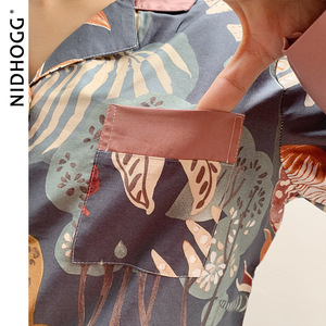 Image 3 - الكلاسيكية طباعة منامة للنساء كم طويل القطن بيجامات 2 قطعة مجموعة الخريف بدوره إلى أسفل طوق ملابس النوم عادية ملابس نوم نسائية