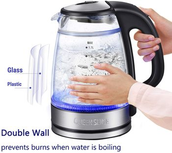 Electric Water Kettle Glass Double Wall Cordless with Blue LED Light, 1.7L Tea Kettle, Fast Water Boiler, Automatic Shutof fully automatic tea making black steam electric kettle glass machine