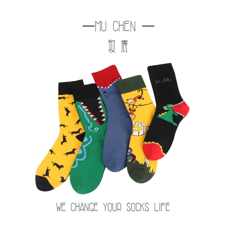 2019 Newly Men Socks Cotton Casual Personality Design Hip Hop Streetwear Happy Socks Gifts For Men Web Celebrity Socks
