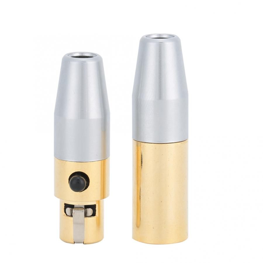 1 Pair Gold-Plated 3-Core MINI XLR Male To Female Welding Connector DIY Soldering Head For Audio Cables Headphone Microphone