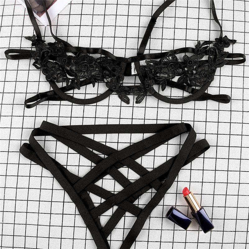 Harness Appliques Underwire Sexy Women Intimates 2019 Black Thongs V-String Transparent Female Underwear Bra Set RS80854