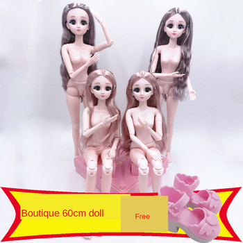 цена на 60 CM BJD Doll 22 Movable Joint White Skin Nude 4D Simulation Blink Doll Gift Set Girl Fashion Dress Princess 1/3 Nude DIY Toy