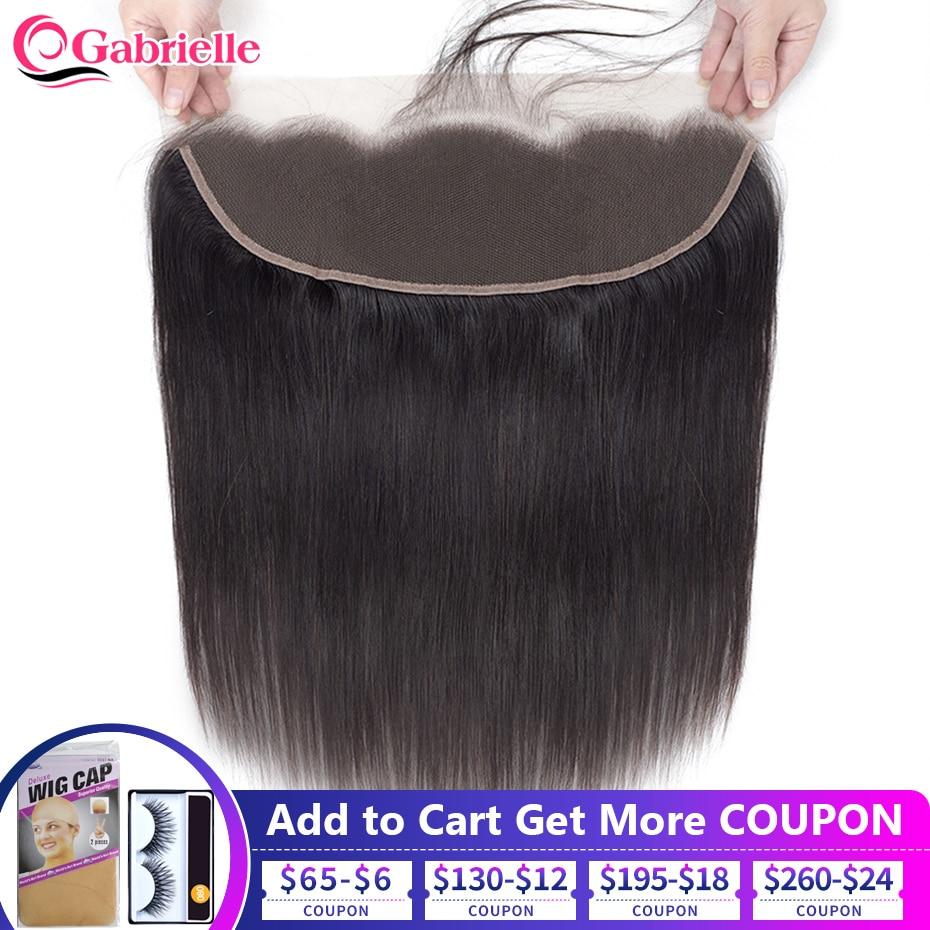 Extensiones de cabello humano con cierre Frontal de malla para mujer mechones de cabello natural con cierre Frontal de malla de 13x4 con encaje Frontal brasileño liso de color marrón medio