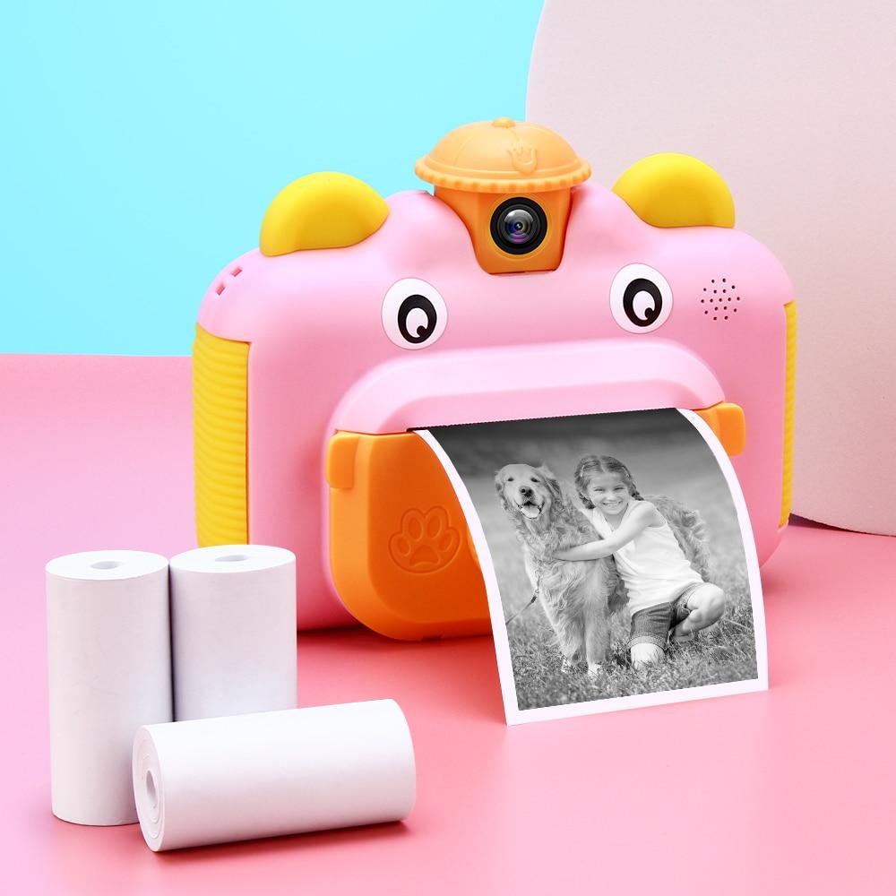 Crianças câmera de impressão instantânea câmera para crianças 1080p hd câmera de vídeo foto brinquedos com cartão 32gb 1