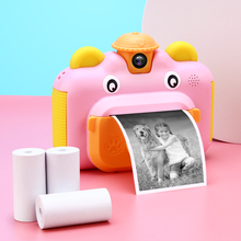 Kids Instant Print Camera Rotatable Lens 1080P HD Children Camera Toys with Thermal Photo Paper 32GB TF Card