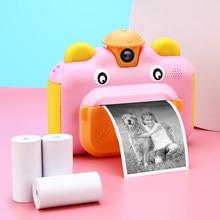 Bambini stampa istantanea fotocamera obiettivo girevole 1080P HD giocattoli per fotocamera per bambini con carta fotografica termica 32GB TF Card