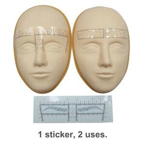 Image 3 - 100pcs קעקוע אביזרי חד פעמי 3D גבות שליט מדבקת עיצוב מדידת סטנסיל קבוע איפור Microblading ספקי
