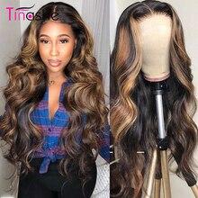 Tinashe-peluca con encaje frontal para mujer, cabello humano rubio miel, pelo ondulado con cierre brasileño, pelucas de cabello humano de color rojo y marrón