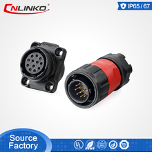 Cnlinko IP67 plastic waterproof connector 12pin male and female 1/4 bayonet connecting 5A