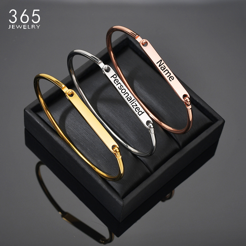 Personalized Gold/Silver/Rose Gold Bracelets Bangles Girl Customized Engraved Name Date Cuff Bangle For Women Best Festival Gift(China)
