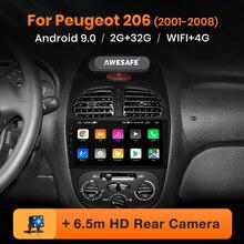 AWESAFE для peugeot 206 2001 2002 2003 2004-2008 Автомобиль Радио Мультимедийный видеоплеер gps без 2din 2 din Android 8,1 2 ГБ+ 32 ГБ