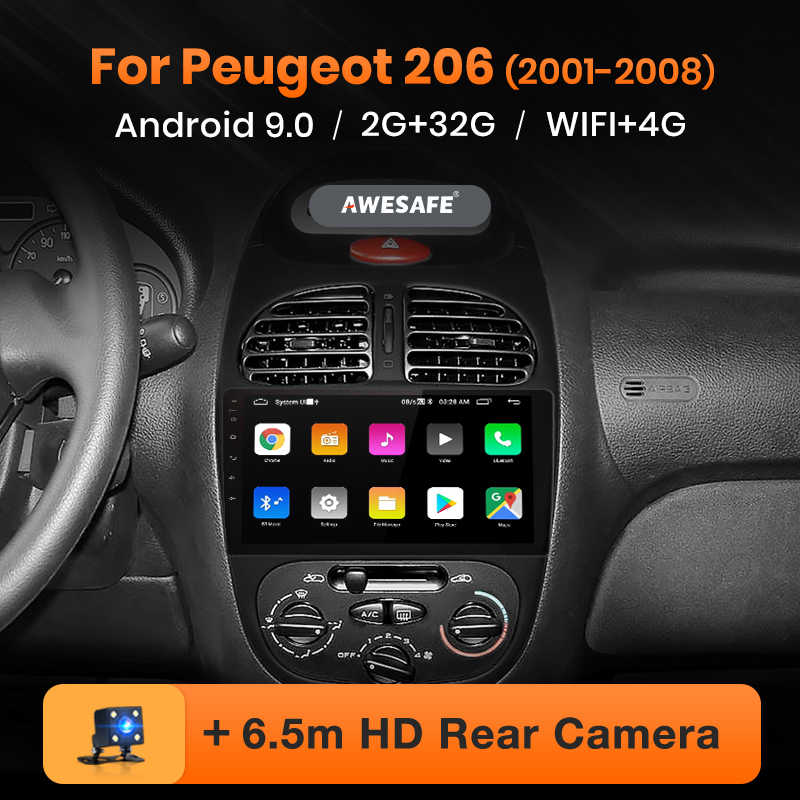 AWESAFE para Peugeot 206, 2001, 2002, 2003, 2004-2008 auto Radio Multimedia reproductor de video GPS No 2din 2 din Android 9,0 2GB + 32GB