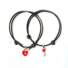 1 Pair Couple Bracelet Alloy Key Heart Lock Charm Girl Handmade Jewelry Lass Rope Bracelet Lovers Gifts For Women