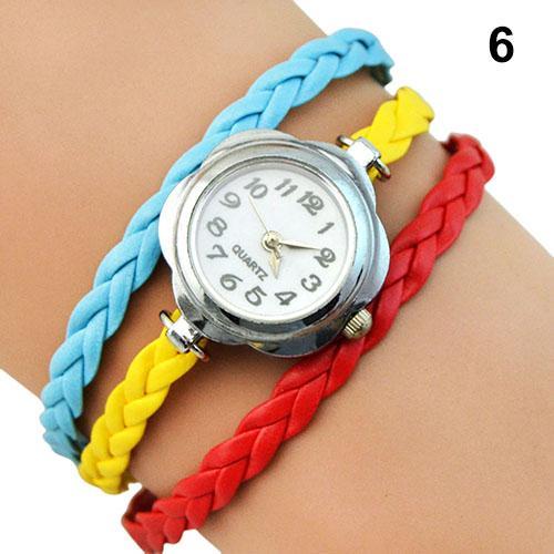 3 Layers Casual Bracelet Watch Women Braided Strap Flower Shape Case Anolog Quartz Wrist Watch Ladies Festival Gift Женские часы