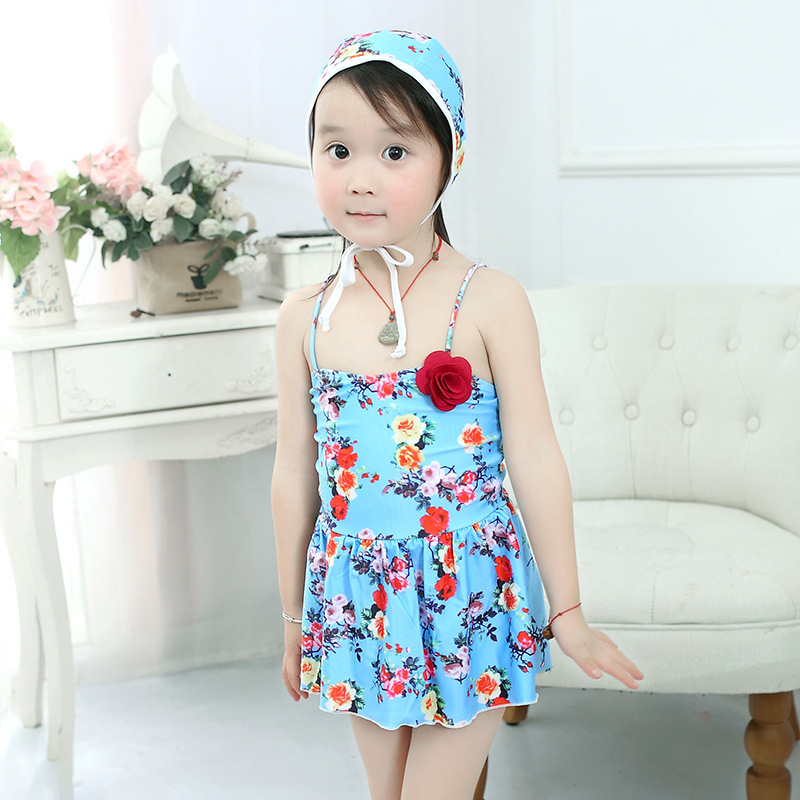 15-50 Jin 19 Years New Style Infants One-piece Swimming Suit With Hair Band Triangular Middle And Large GIRL'S Swimsuit Nt171901