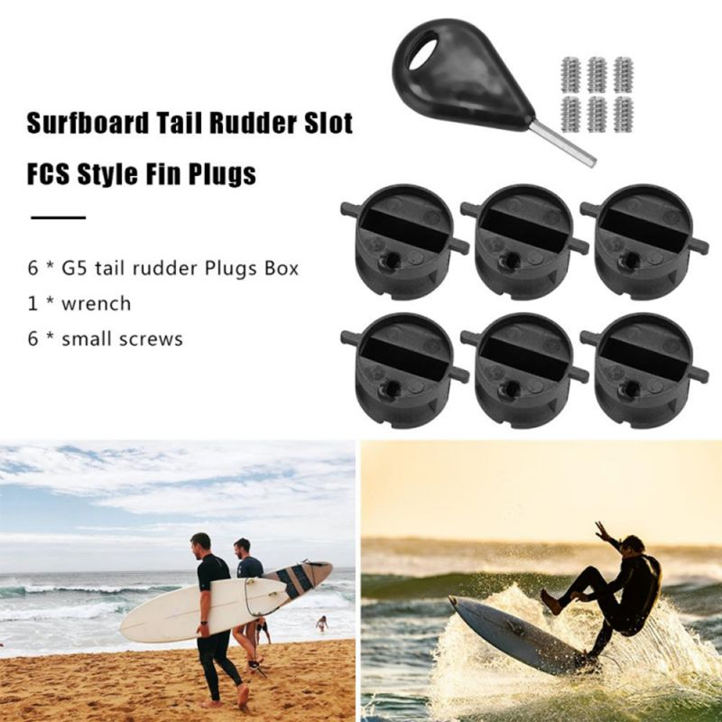 6Pcs Surfboard Tail Rudder Slot Fin Plugs With Screws Key Wrench FCS Style Surfing Board Replacement Accessories
