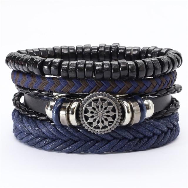 Trust In God Faith Black Guitar Leaf Beads Wristband Leather Bracelets Set Men Bracelets Women Homme Fashion Jewelry Accessories 5