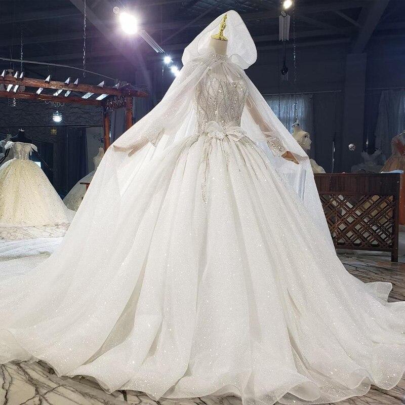 HTL1812 Luxurious Sequined Beading Cloak Wedding Dress 2020 High Neck Long Puff Sleeve Ball Gowns robe femme mariage 3