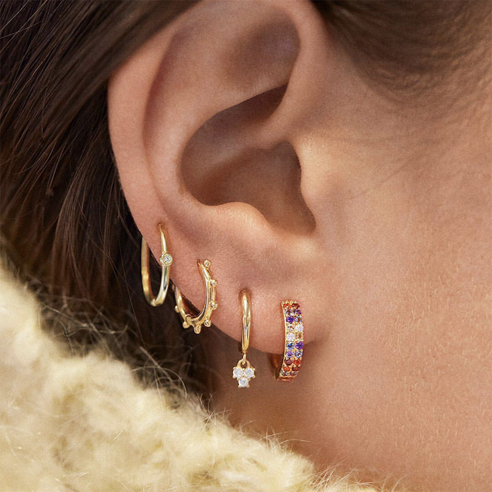 5 Pair/set 2019 Brincos Female Rhinestone Huggie Earrings Set Amazing Price Gold Small Stud Earring For Women Fashion Jewelry