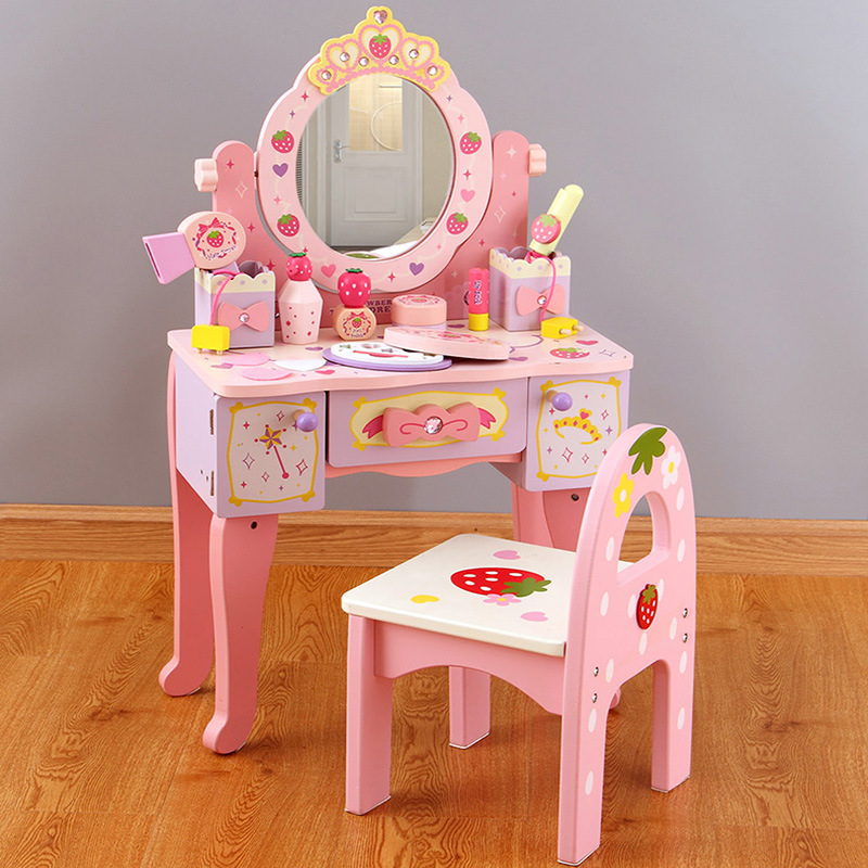Wooden Dresser Table Girls Make Up Toys Kids Pink Bedroom Makeup Table Chair Set
