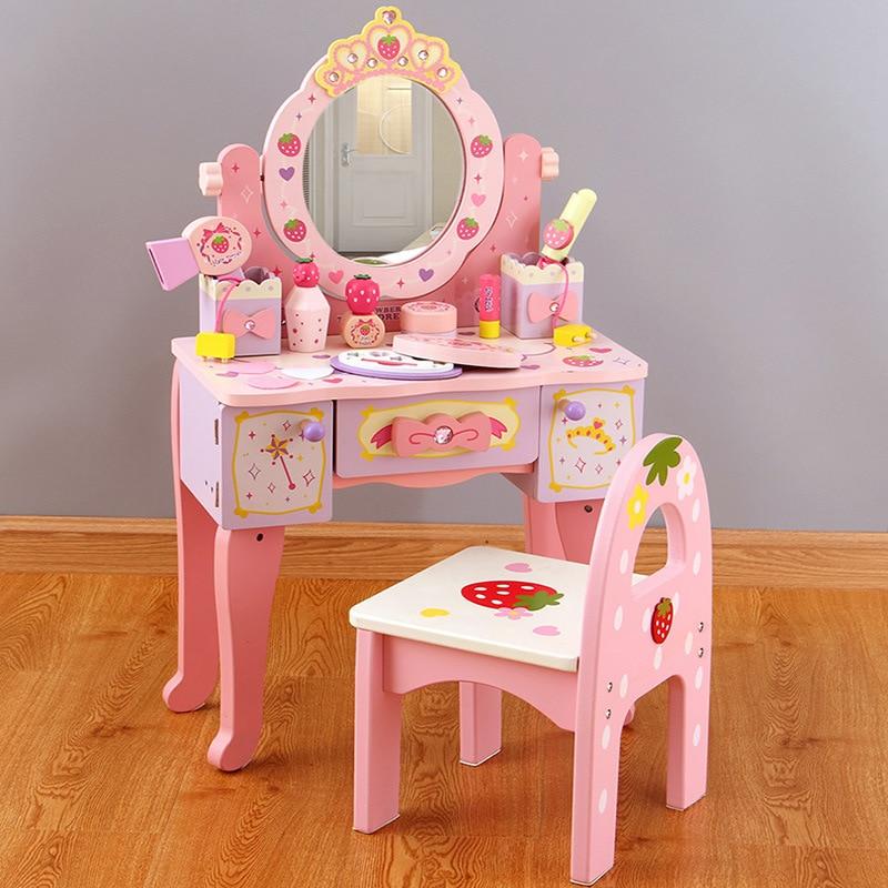 Wooden Dresser Table Girls Make Up Toys Kids Pink Bedroom Makeup Table Chair Set