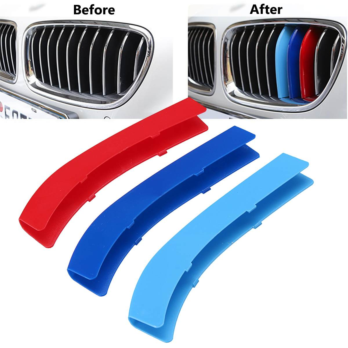 3pcs Car Grille Sticker Strip Cover Trim For BMW 1 3 5 Series F30 F31 X5 X6 E90 E91 F10 F11 F18 E60 E61 E70 E84 F48 F20 F21
