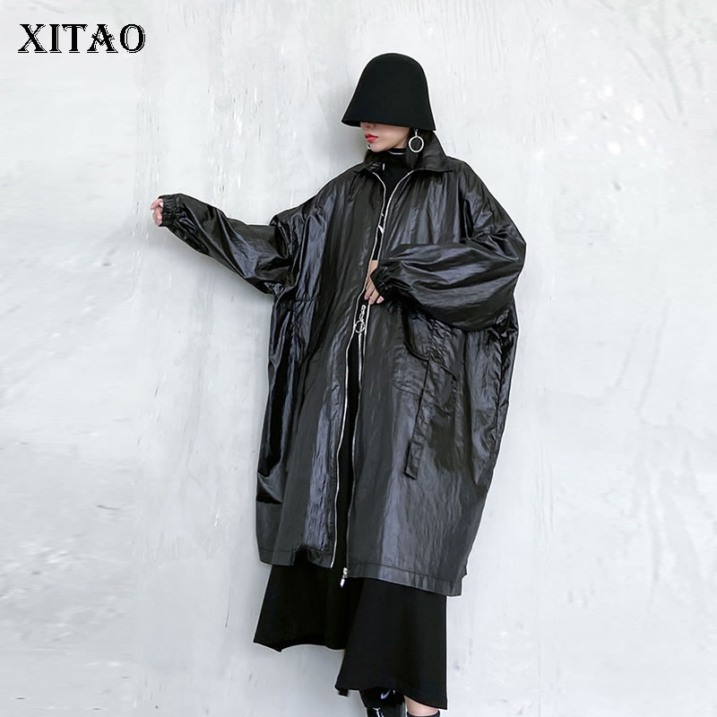 XITAO Zippers Casual Wide Waisted Trench Women 2020 Spring Tide Fashion  Style Turn Down Collar Long Sleeve Trench Coat GCC3382