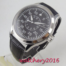 цена wholesale 42mm Corgeut black sterile dial supper luminous marks Sapphire Glass pilot watch sea-gull 1612 Automatic mens Watch онлайн в 2017 году