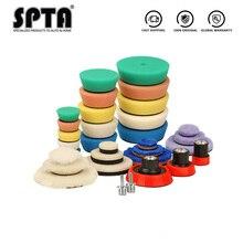 SPTA 32 sztuk Mini talerze polerskie gąbka talerze polerskie podkładka do polerowania wosku płyta tylna dla Mini polerka z podwójnym działaniem do polerowania samochodu