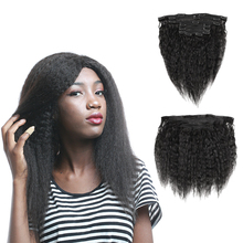 Full Head Clips In Human Hair Extensions 120g/Set Yaki Hair Extension Clip Kinky Curly Brazilian Remy Machine Straight 8PCS